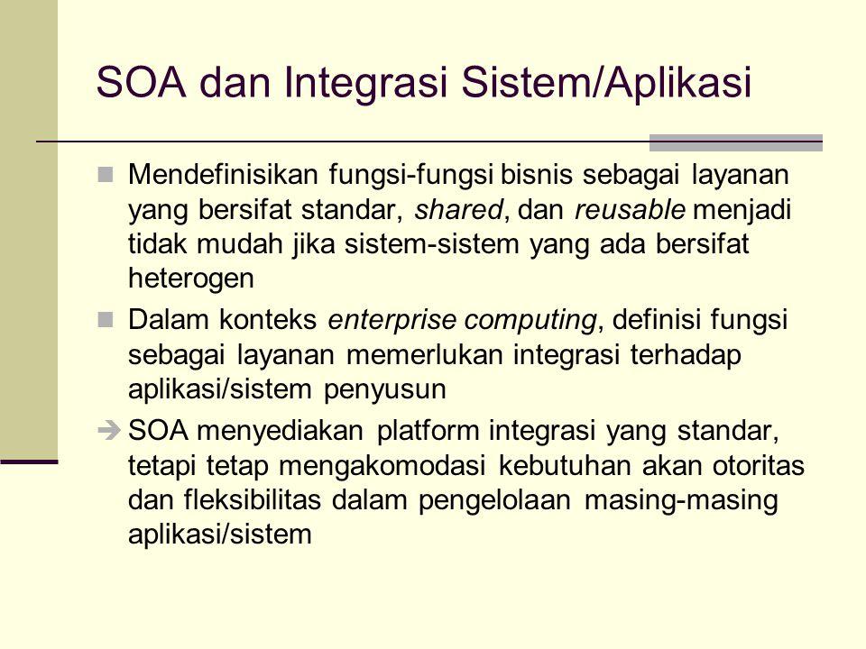 SOA dan Integrasi Aplikasi/Sistem SOA sebagai platform integrasi: SOA memisahkan antara pesan/query/call dengan pemrosesan Pesan/query/call distandarisasi dan tidak dikaitkan dengan sebuah produk teknologi tertentu, sehingga bisa dikirimkan/diterima oleh siapapun SOA memisahkan antara bagian publik dan bagian privat Bagian publik dapat diakses oleh siapapun, berupa deskripsi tentang layanan yang ditawarkan Bagian privat hanya bisa diakses oleh pemilik/penyedia layanan