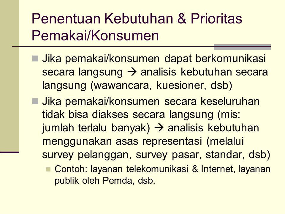 Penentuan Kebutuhan & Prioritas Pemakai/Konsumen Jika pemakai/konsumen dapat berkomunikasi secara langsung  analisis kebutuhan secara langsung (wawancara, kuesioner, dsb) Jika pemakai/konsumen secara keseluruhan tidak bisa diakses secara langsung (mis: jumlah terlalu banyak)  analisis kebutuhan menggunakan asas representasi (melalui survey pelanggan, survey pasar, standar, dsb) Contoh: layanan telekomunikasi & Internet, layanan publik oleh Pemda, dsb.