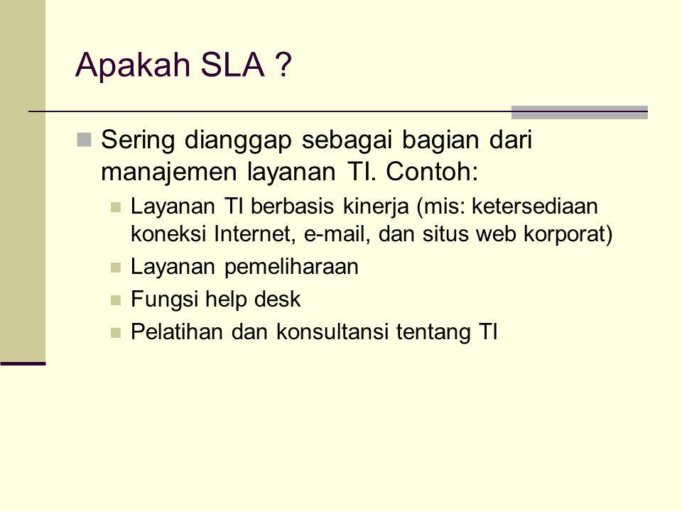 Apakah SLA ? Sering dianggap sebagai bagian dari manajemen layanan TI. Contoh: Layanan TI berbasis kinerja (mis: ketersediaan koneksi Internet, e-mail