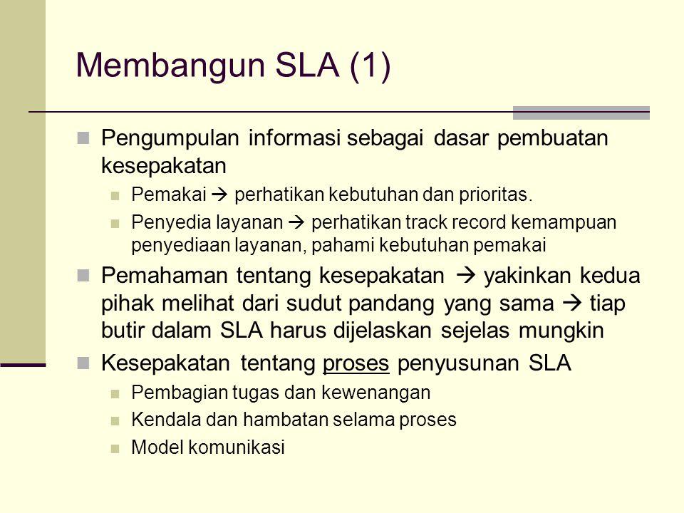 Membangun SLA (2) Penyusunan draft SLA Lingkup dan struktur Penulisan formal Review dan evaluasi draft SLA  finalisasi dokumen (dilakukan oleh kedua pihak) Pre-implementasi Penyusunan mekanisme pengukuran kinerja, pelaporan, penanganan keluhan, dsb.