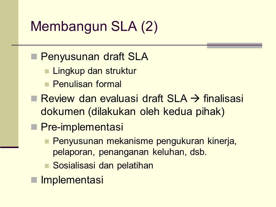 Membangun SLA (2) Penyusunan draft SLA Lingkup dan struktur Penulisan formal Review dan evaluasi draft SLA  finalisasi dokumen (dilakukan oleh kedua