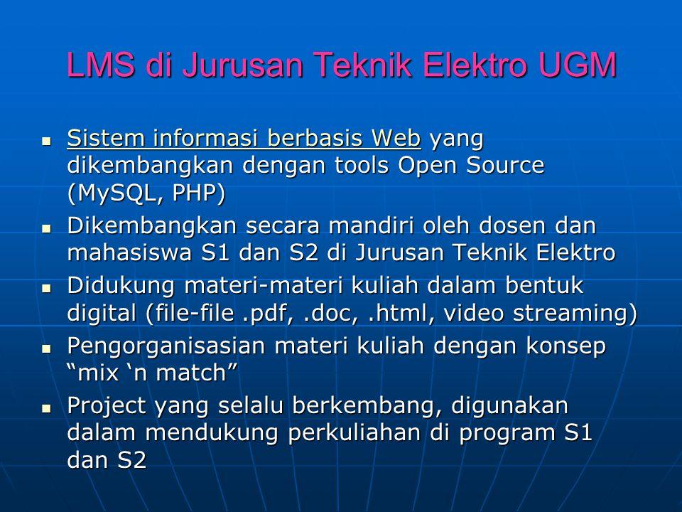 LMS di Jurusan Teknik Elektro UGM Sistem informasi berbasis Web yang dikembangkan dengan tools Open Source (MySQL, PHP) Sistem informasi berbasis Web