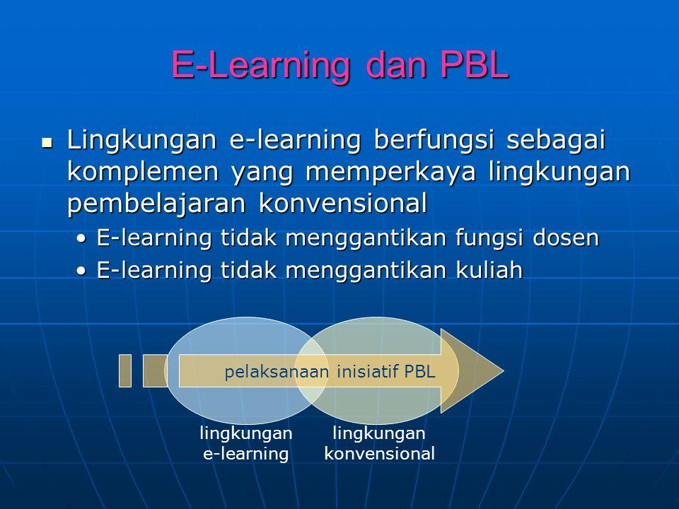 E-Learning dan PBL Lingkungan e-learning berfungsi sebagai komplemen yang memperkaya lingkungan pembelajaran konvensional Lingkungan e-learning berfun
