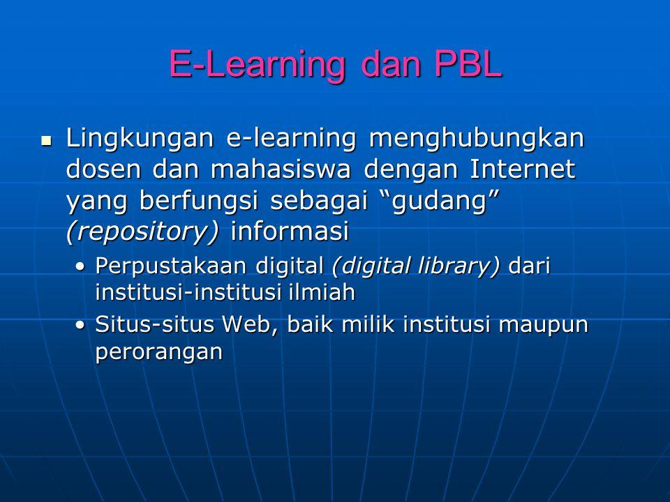 "E-Learning dan PBL Lingkungan e-learning menghubungkan dosen dan mahasiswa dengan Internet yang berfungsi sebagai ""gudang"" (repository) informasi Ling"