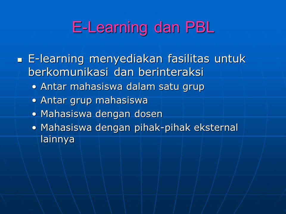 E-Learning dan PBL E-learning menyediakan fasilitas untuk berkomunikasi dan berinteraksi E-learning menyediakan fasilitas untuk berkomunikasi dan beri