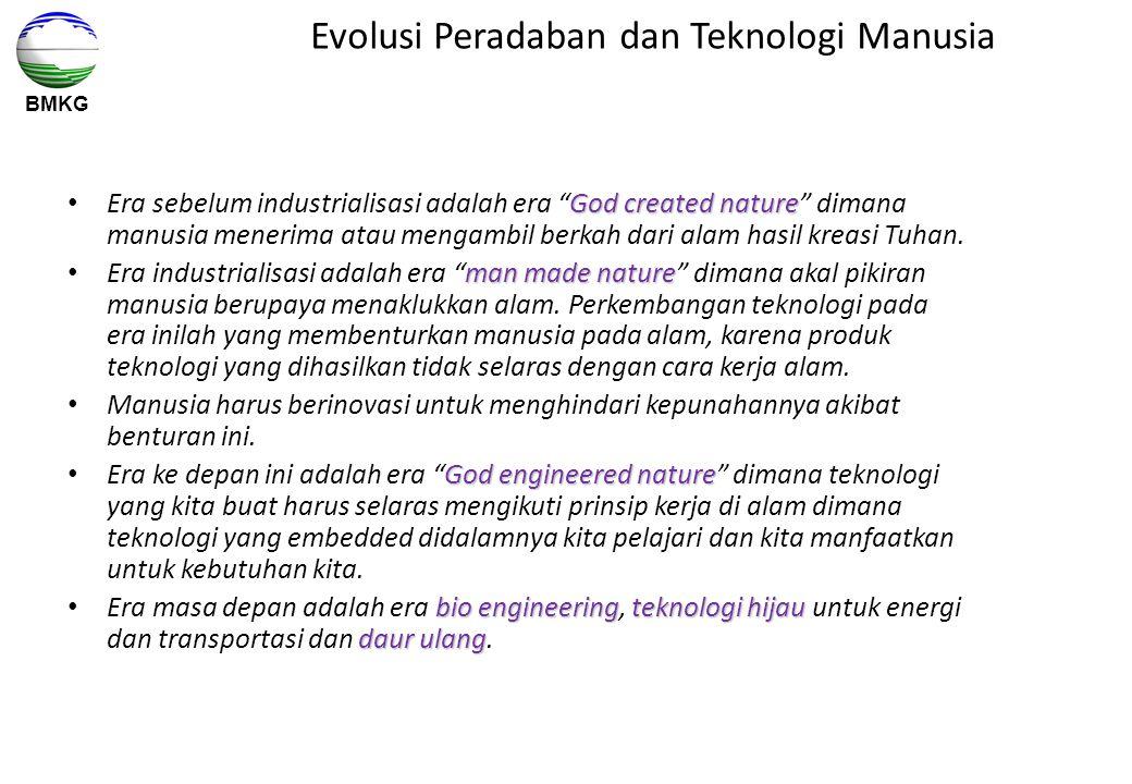 """BMKG Evolusi Peradaban dan Teknologi Manusia God created nature Era sebelum industrialisasi adalah era """"God created nature"""" dimana manusia menerima at"""