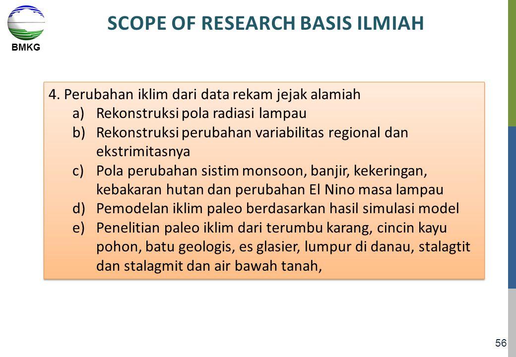 BMKG 56 SCOPE OF RESEARCH BASIS ILMIAH 4. Perubahan iklim dari data rekam jejak alamiah a)Rekonstruksi pola radiasi lampau b)Rekonstruksi perubahan va