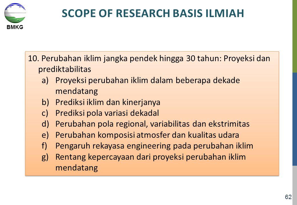 BMKG 62 SCOPE OF RESEARCH BASIS ILMIAH 10. Perubahan iklim jangka pendek hingga 30 tahun: Proyeksi dan prediktabilitas a)Proyeksi perubahan iklim dala