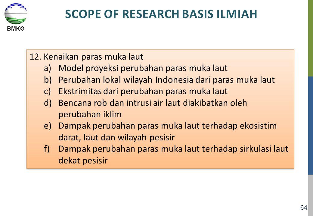 BMKG 64 SCOPE OF RESEARCH BASIS ILMIAH 12. Kenaikan paras muka laut a)Model proyeksi perubahan paras muka laut b)Perubahan lokal wilayah Indonesia dar