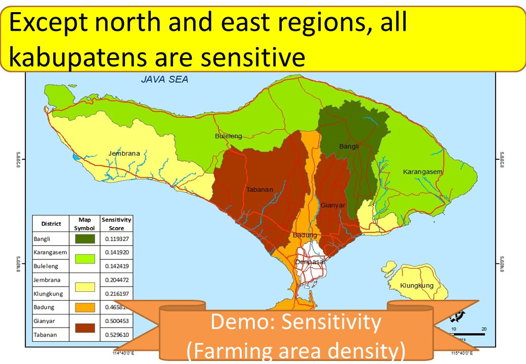 BMKG Sensitivity Except north and east regions, all kabupatens are sensitive Demo: Sensitivity (Farming area density)