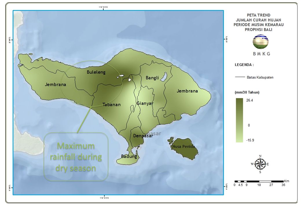 BMKG Maximum rainfall during dry season