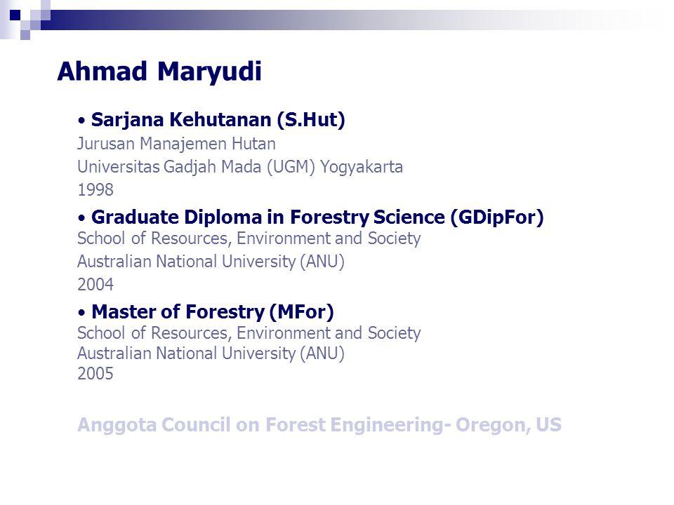 Identitas Nama: Keteknikan Hutan (KTM 342) SKS: 2 Prasyarat: KTM 251-Pengukuran dan Perpetaan Hutan KTF 313-Pemanenan Hasil Hutan Sifat: Pilihan Program Studi Manajemen Hutan
