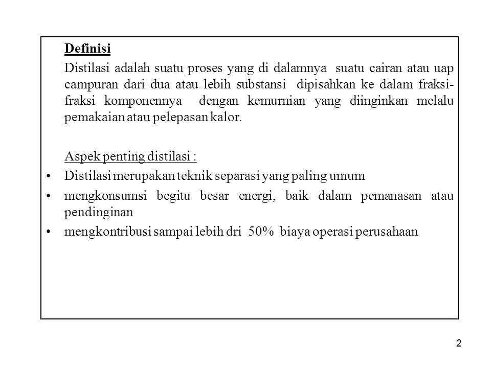 2 Definisi Distilasi adalah suatu proses yang di dalamnya suatu cairan atau uap campuran dari dua atau lebih substansi dipisahkan ke dalam fraksi- fra