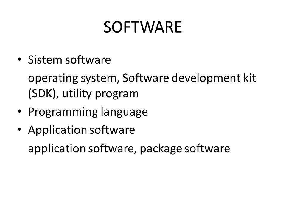 SOFTWARE Sistem software operating system, Software development kit (SDK), utility program Programming language Application software application softw