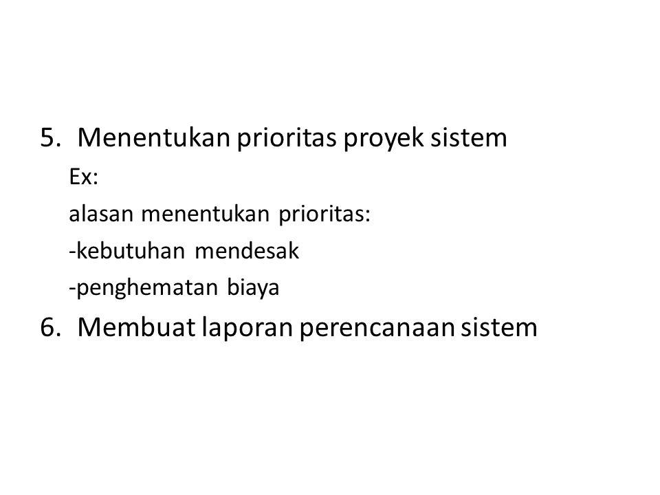 5.Menentukan prioritas proyek sistem Ex: alasan menentukan prioritas: -kebutuhan mendesak -penghematan biaya 6.Membuat laporan perencanaan sistem