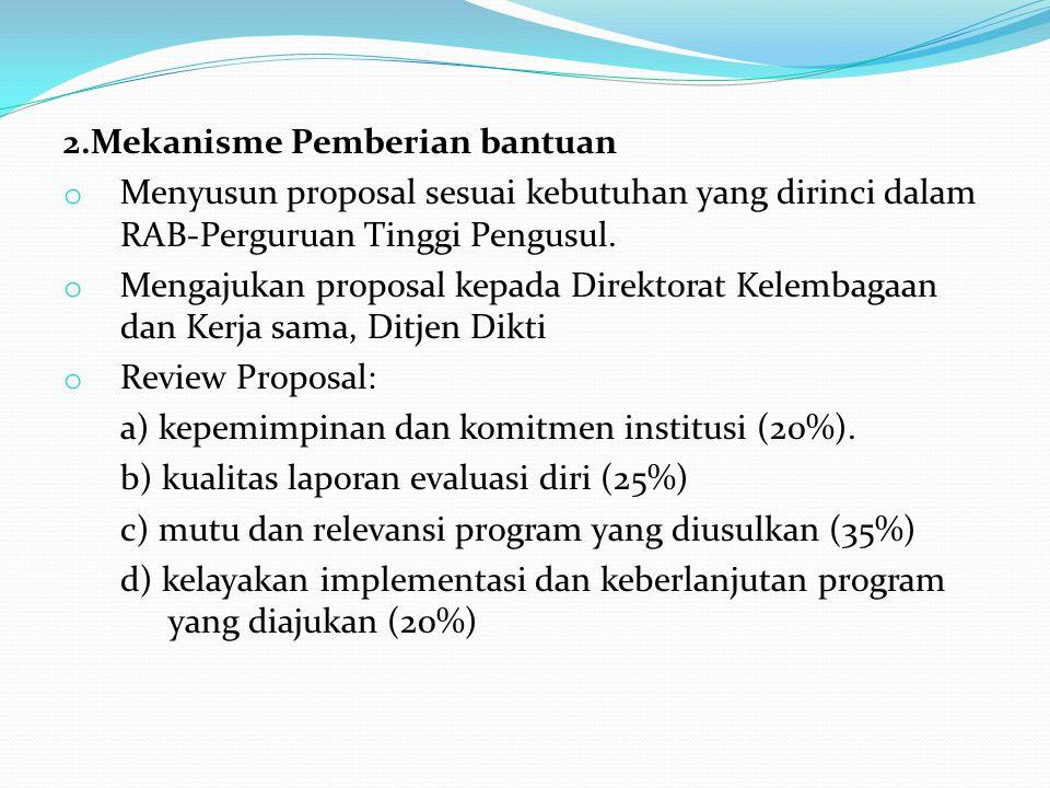 2.Mekanisme Pemberian bantuan o Menyusun proposal sesuai kebutuhan yang dirinci dalam RAB-Perguruan Tinggi Pengusul. o Mengajukan proposal kepada Dire