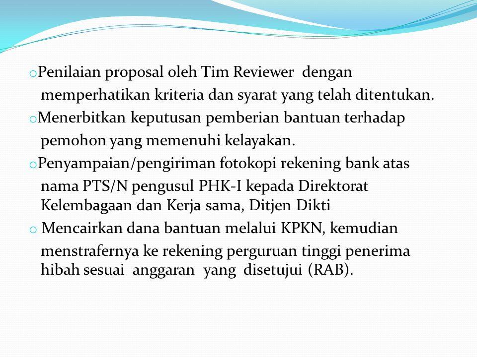o Penilaian proposal oleh Tim Reviewer dengan memperhatikan kriteria dan syarat yang telah ditentukan. o Menerbitkan keputusan pemberian bantuan terha