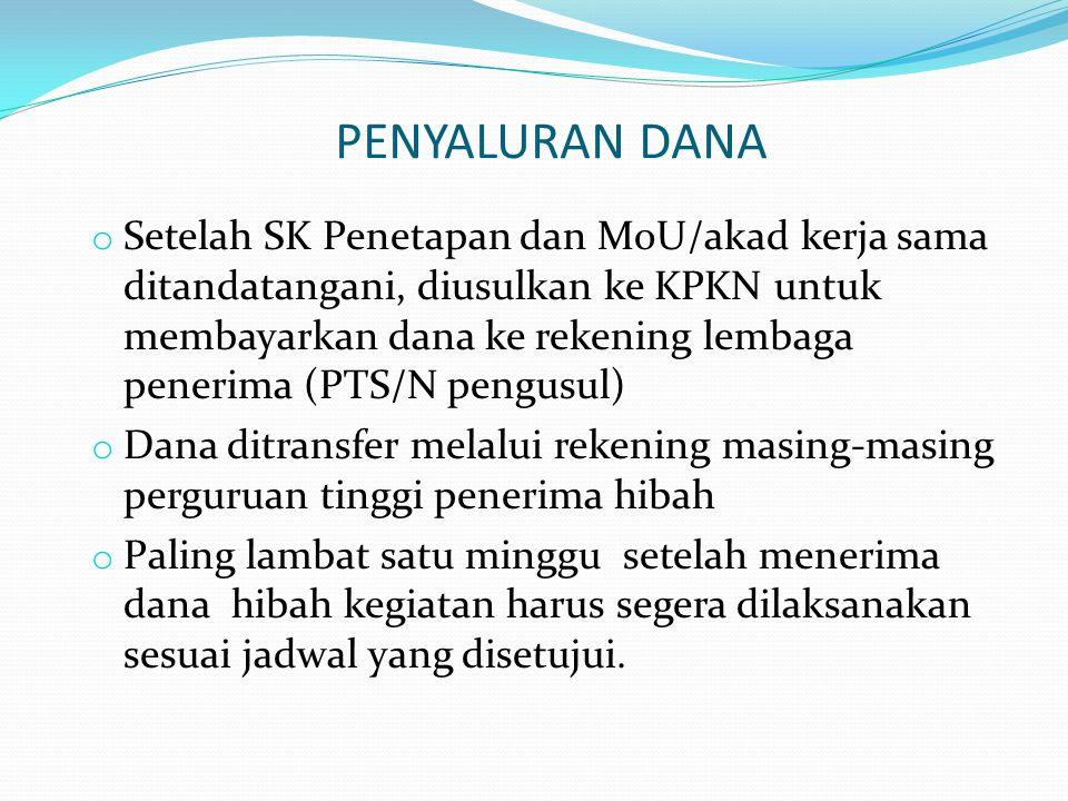 PENYALURAN DANA o Setelah SK Penetapan dan MoU/akad kerja sama ditandatangani, diusulkan ke KPKN untuk membayarkan dana ke rekening lembaga penerima (
