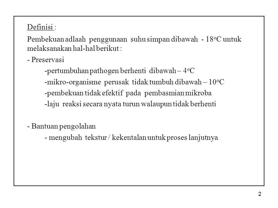 2 Definisi : Pembekuan adlaah penggunaan suhu simpan dibawah - 18 o C untuk melaksanakan hal-hal berikut : - Preservasi -pertumbuhan pathogen berhenti
