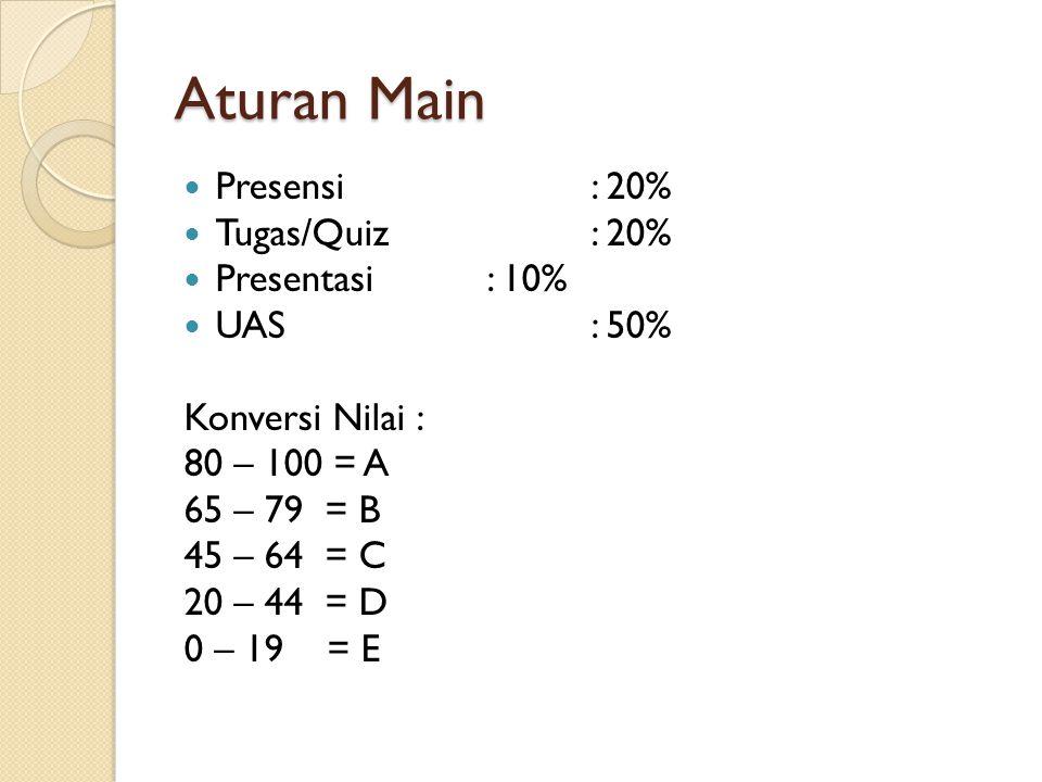 Aturan Main Presensi: 20% Tugas/Quiz: 20% Presentasi: 10% UAS: 50% Konversi Nilai : 80 – 100 = A 65 – 79 = B 45 – 64 = C 20 – 44 = D 0 – 19 = E