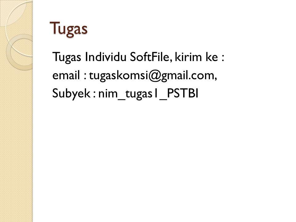 Tugas Tugas Individu SoftFile, kirim ke : email : tugaskomsi@gmail.com, Subyek : nim_tugas1_PSTBI