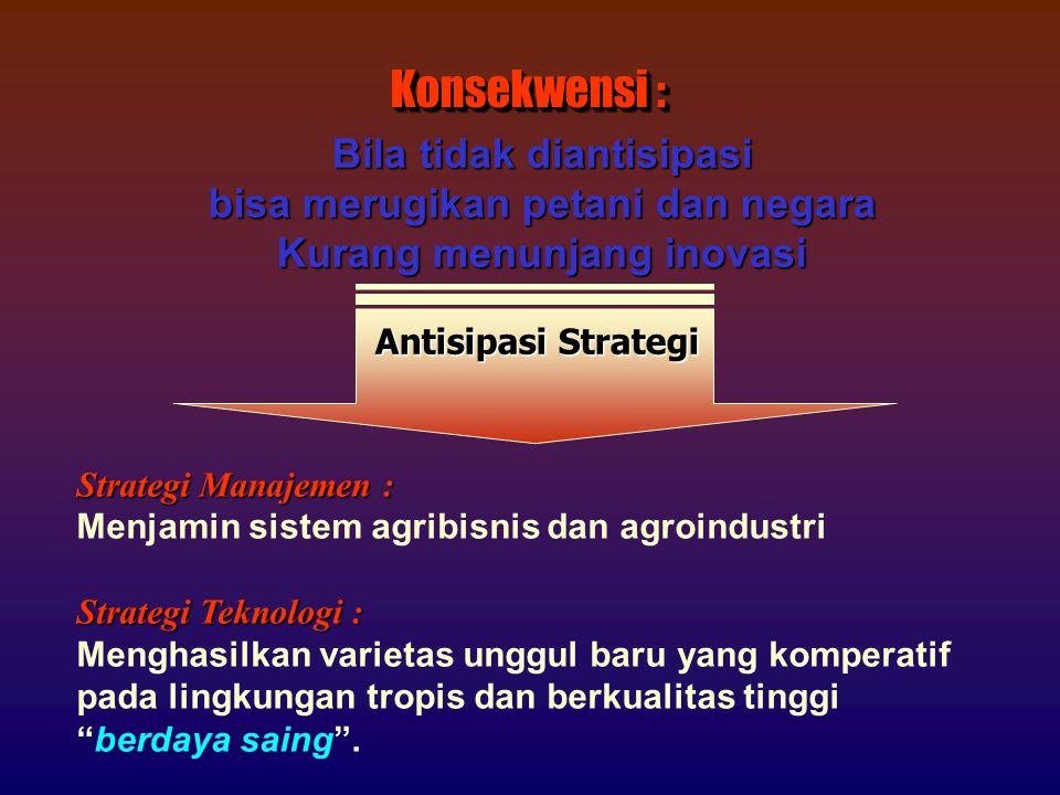 Strategi Manajemen : Menjamin sistem agribisnis dan agroindustri Strategi Teknologi : Menghasilkan varietas unggul baru yang komperatif pada lingkungan tropis dan berkualitas tinggi berdaya saing .