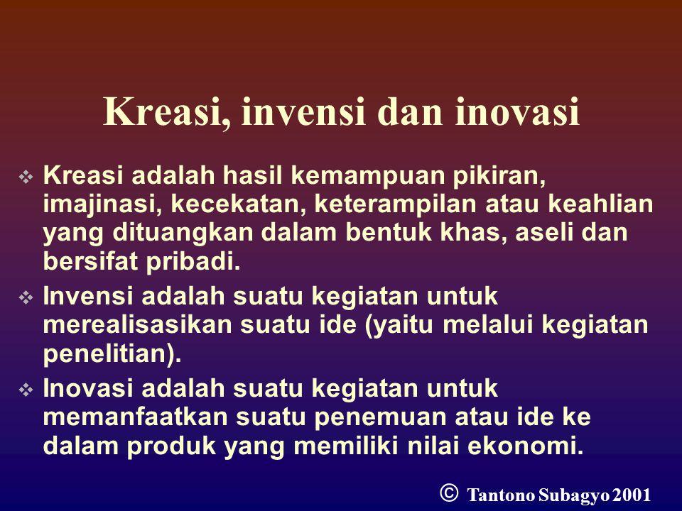 Kreasi, invensi dan inovasi  Kreasi adalah hasil kemampuan pikiran, imajinasi, kecekatan, keterampilan atau keahlian yang dituangkan dalam bentuk khas, aseli dan bersifat pribadi.