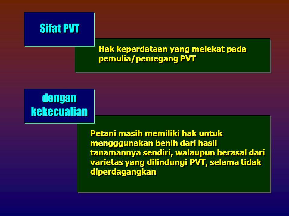 Sifat PVT Hak keperdataan yang melekat pada pemulia/pemegang PVT dengan kekecualian Petani masih memiliki hak untuk mengggunakan benih dari hasil tanamannya sendiri, walaupun berasal dari varietas yang dilindungi PVT, selama tidak diperdagangkan
