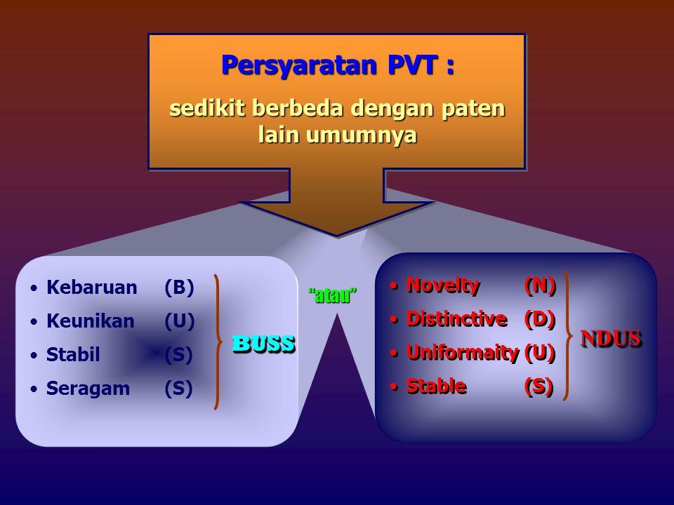 Persyaratan PVT : sedikit berbeda dengan paten lain umumnya Kebaruan(B) Keunikan(U) Stabil(S) Seragam(S) BUSSBUSS atau Novelty(N) Distinctive(D) Uniformaity(U) Stable(S) Novelty(N) Distinctive(D) Uniformaity(U) Stable(S) NDUSNDUS