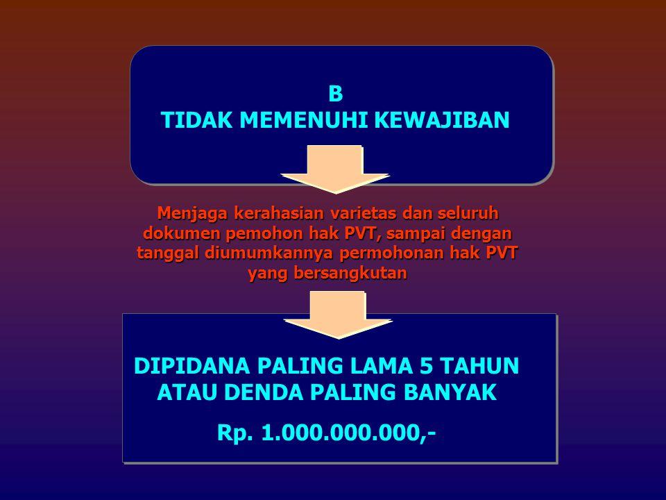 B TIDAK MEMENUHI KEWAJIBAN Menjaga kerahasian varietas dan seluruh dokumen pemohon hak PVT, sampai dengan tanggal diumumkannya permohonan hak PVT yang