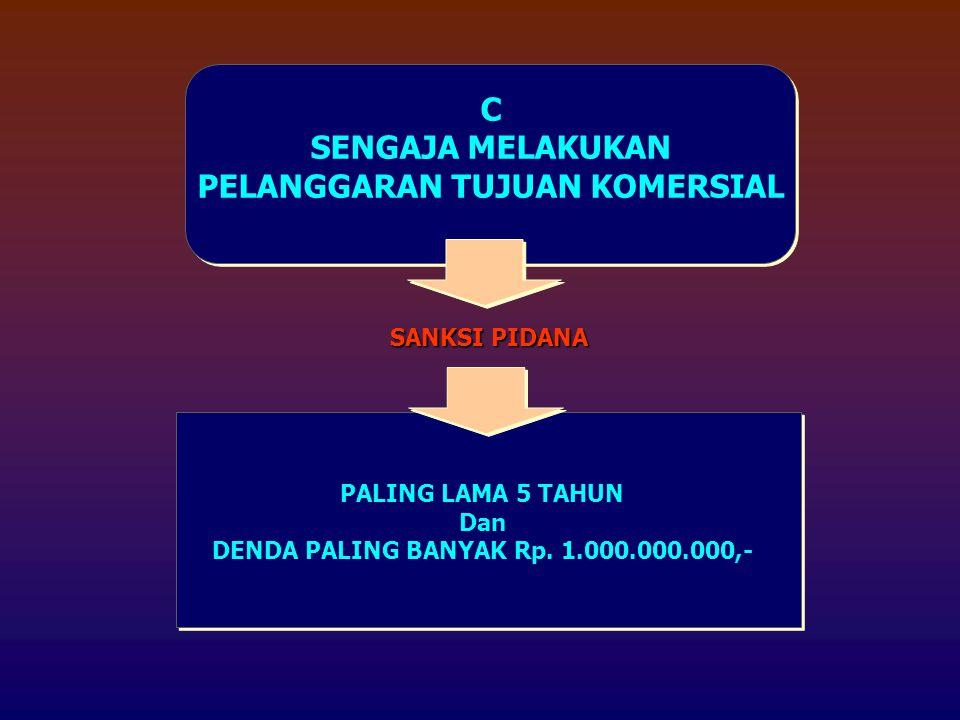 C SENGAJA MELAKUKAN PELANGGARAN TUJUAN KOMERSIAL SANKSI PIDANA PALING LAMA 5 TAHUN Dan DENDA PALING BANYAK Rp. 1.000.000.000,-