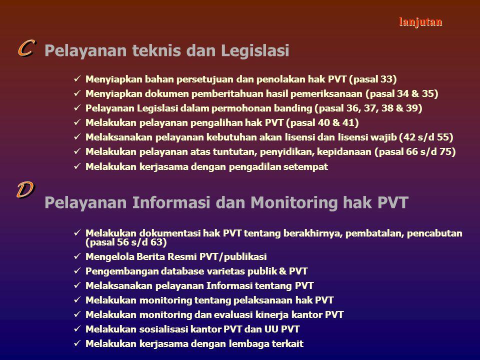 Pelayanan teknis dan Legislasi Menyiapkan bahan persetujuan dan penolakan hak PVT (pasal 33) Menyiapkan dokumen pemberitahuan hasil pemeriksanaan (pasal 34 & 35) Pelayanan Legislasi dalam permohonan banding (pasal 36, 37, 38 & 39) Melakukan pelayanan pengalihan hak PVT (pasal 40 & 41) Melaksanakan pelayanan kebutuhan akan lisensi dan lisensi wajib (42 s/d 55) Melakukan pelayanan atas tuntutan, penyidikan, kepidanaan (pasal 66 s/d 75) Melakukan kerjasama dengan pengadilan setempat Pelayanan Informasi dan Monitoring hak PVT Melakukan dokumentasi hak PVT tentang berakhirnya, pembatalan, pencabutan (pasal 56 s/d 63) Mengelola Berita Resmi PVT/publikasi Pengembangan database varietas publik & PVT Melaksanakan pelayanan Informasi tentang PVT Melakukan monitoring tentang pelaksanaan hak PVT Melakukan monitoring dan evaluasi kinerja kantor PVT Melakukan sosialisasi kantor PVT dan UU PVT Melakukan kerjasama dengan lembaga terkait lanjutan