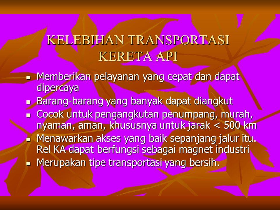KELEBIHAN TRANSPORTASI KERETA API KELEBIHAN TRANSPORTASI KERETA API Memberikan pelayanan yang cepat dan dapat dipercaya Memberikan pelayanan yang cepat dan dapat dipercaya Barang-barang yang banyak dapat diangkut Barang-barang yang banyak dapat diangkut Cocok untuk pengangkutan penumpang, murah, nyaman, aman, khususnya untuk jarak < 500 km Cocok untuk pengangkutan penumpang, murah, nyaman, aman, khususnya untuk jarak < 500 km Menawarkan akses yang baik sepanjang jalur itu.