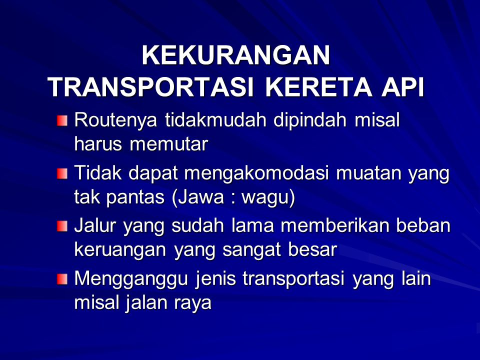 KEKURANGAN TRANSPORTASI DENGAN SEPEDA Tak terlindungi dari polusi Tak terlindungi dari polusi Tak terlindungi dari kecelakaan Tak terlindungi dari kecelakaan Lambat untuk perjalanan jauh.