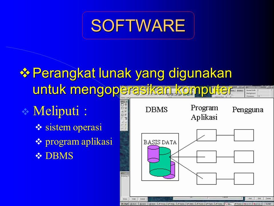 SOFTWARE  Perangkat lunak yang digunakan untuk mengoperasikan komputer  Meliputi :  sistem operasi  program aplikasi  DBMS