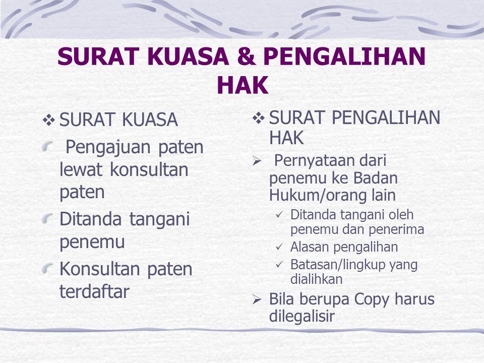 SURAT KUASA & PENGALIHAN HAK  SURAT KUASA Pengajuan paten lewat konsultan paten Ditanda tangani penemu Konsultan paten terdaftar  SURAT PENGALIHAN H