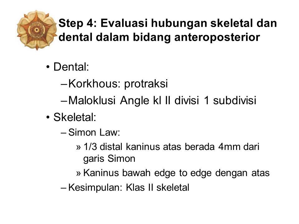 Step 4: Evaluasi hubungan skeletal dan dental dalam bidang anteroposterior Dental: –Korkhous: protraksi –Maloklusi Angle kl II divisi 1 subdivisi Skel