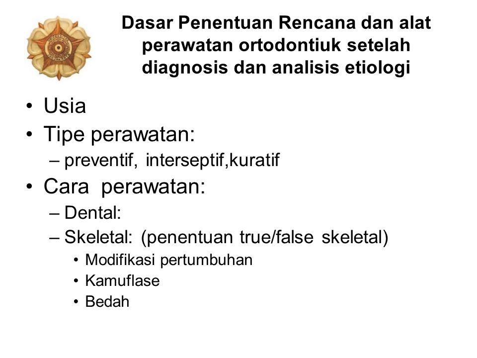 Dasar Penentuan Rencana dan alat perawatan ortodontiuk setelah diagnosis dan analisis etiologi Usia Tipe perawatan: –preventif, interseptif,kuratif Ca