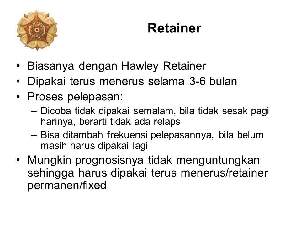 Retainer Biasanya dengan Hawley Retainer Dipakai terus menerus selama 3-6 bulan Proses pelepasan: –Dicoba tidak dipakai semalam, bila tidak sesak pagi