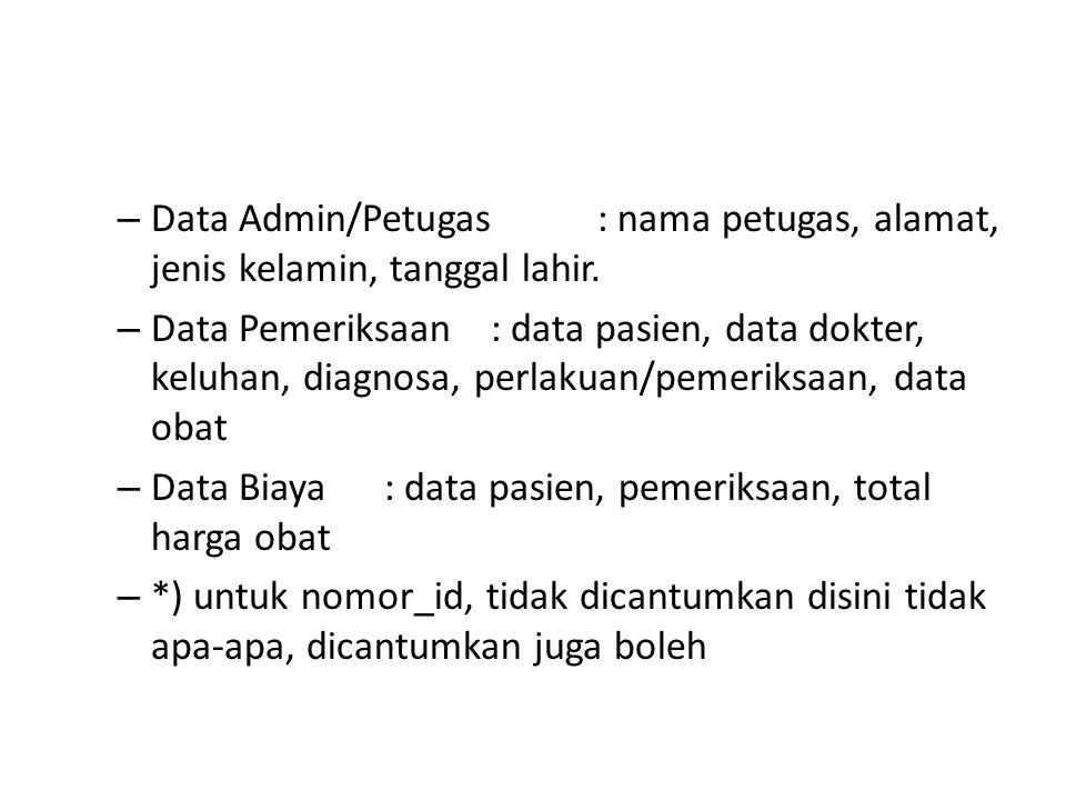 – Data Admin/Petugas: nama petugas, alamat, jenis kelamin, tanggal lahir. – Data Pemeriksaan: data pasien, data dokter, keluhan, diagnosa, perlakuan/p