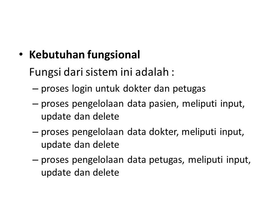 Kebutuhan fungsional Fungsi dari sistem ini adalah : – proses login untuk dokter dan petugas – proses pengelolaan data pasien, meliputi input, update