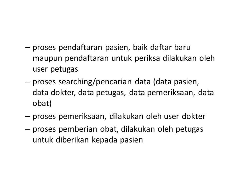 – proses pendaftaran pasien, baik daftar baru maupun pendaftaran untuk periksa dilakukan oleh user petugas – proses searching/pencarian data (data pas
