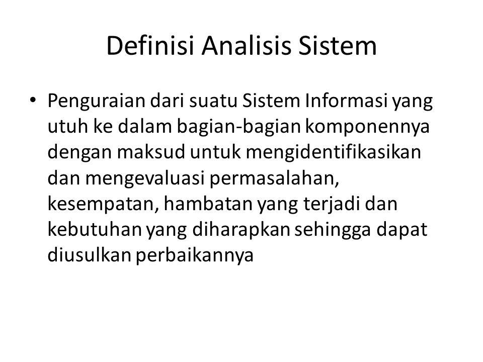 Definisi Analisis Sistem Penguraian dari suatu Sistem Informasi yang utuh ke dalam bagian-bagian komponennya dengan maksud untuk mengidentifikasikan d