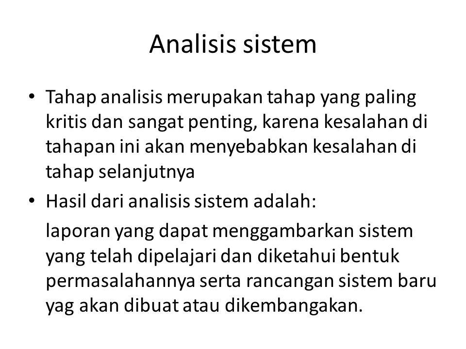 Analisis sistem Tahap analisis merupakan tahap yang paling kritis dan sangat penting, karena kesalahan di tahapan ini akan menyebabkan kesalahan di ta