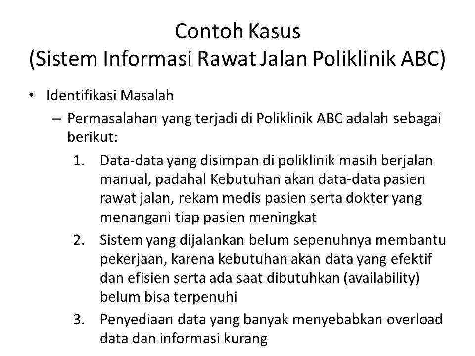 Contoh Kasus (Sistem Informasi Rawat Jalan Poliklinik ABC) Identifikasi Masalah – Permasalahan yang terjadi di Poliklinik ABC adalah sebagai berikut: