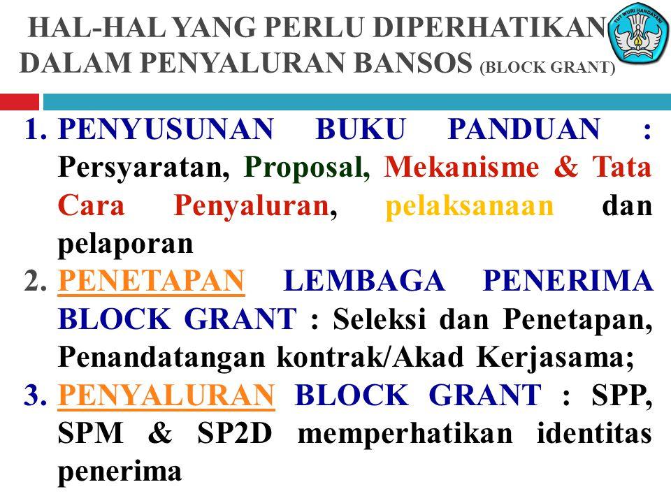 1.PENYUSUNAN BUKU PANDUAN : Persyaratan, Proposal, Mekanisme & Tata Cara Penyaluran, pelaksanaan dan pelaporan 2.PENETAPAN LEMBAGA PENERIMA BLOCK GRANT : Seleksi dan Penetapan, Penandatangan kontrak/Akad Kerjasama;PENETAPAN 3.PENYALURAN BLOCK GRANT : SPP, SPM & SP2D memperhatikan identitas penerimaPENYALURAN HAL-HAL YANG PERLU DIPERHATIKAN DALAM PENYALURAN BANSOS (BLOCK GRANT)