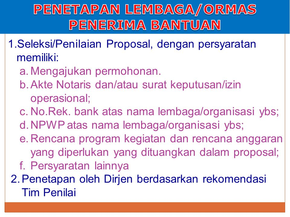 1.Seleksi/Penilaian Proposal, dengan persyaratan memiliki: a.Mengajukan permohonan.