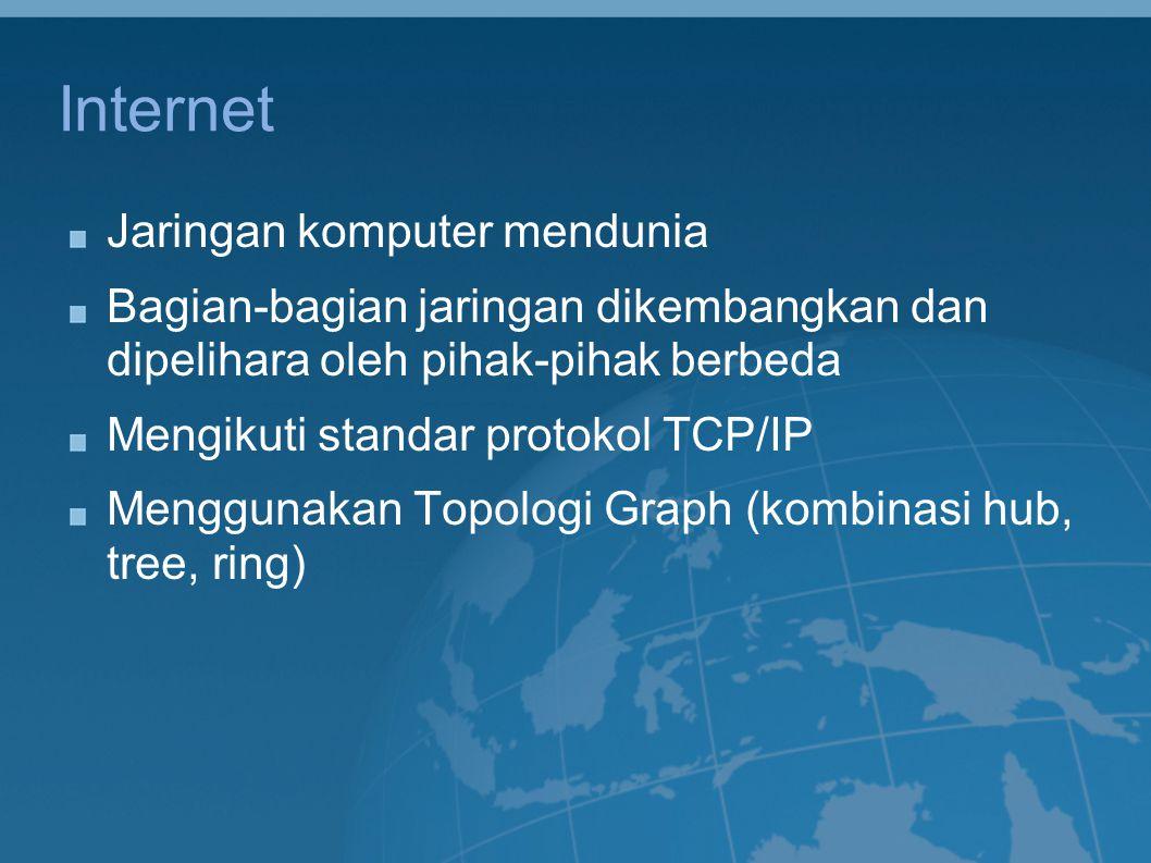 Internet Jaringan komputer mendunia Bagian-bagian jaringan dikembangkan dan dipelihara oleh pihak-pihak berbeda Mengikuti standar protokol TCP/IP Meng