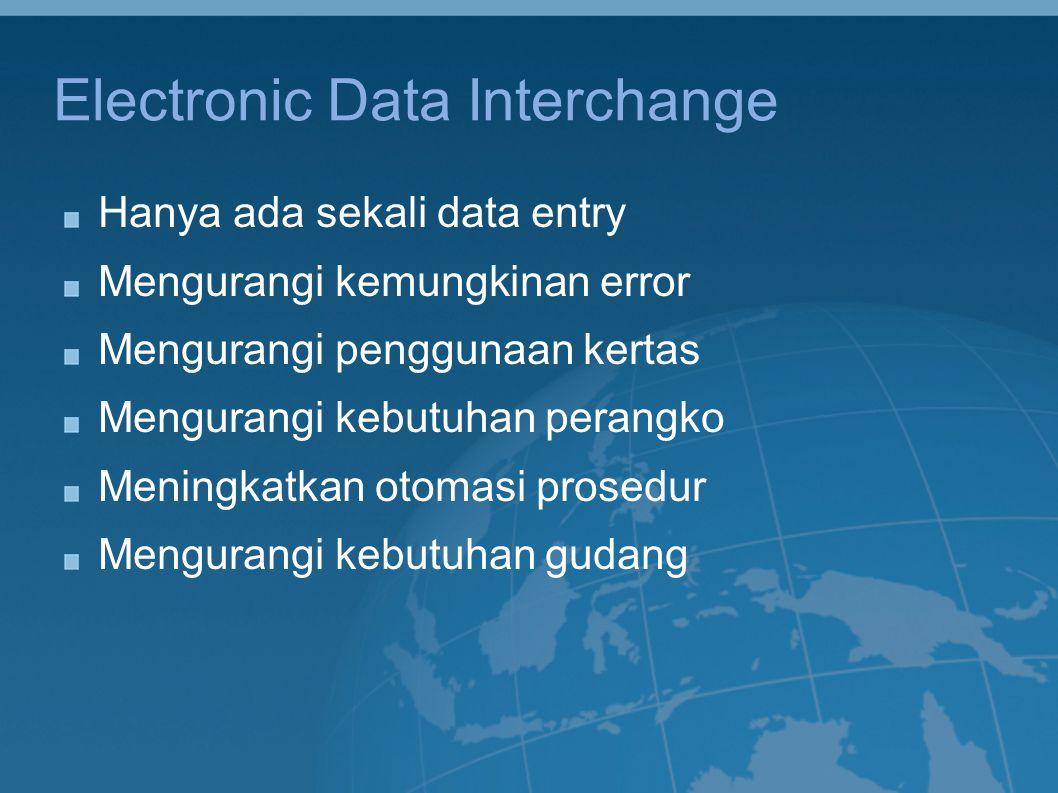 Electronic Data Interchange Hanya ada sekali data entry Mengurangi kemungkinan error Mengurangi penggunaan kertas Mengurangi kebutuhan perangko Mening
