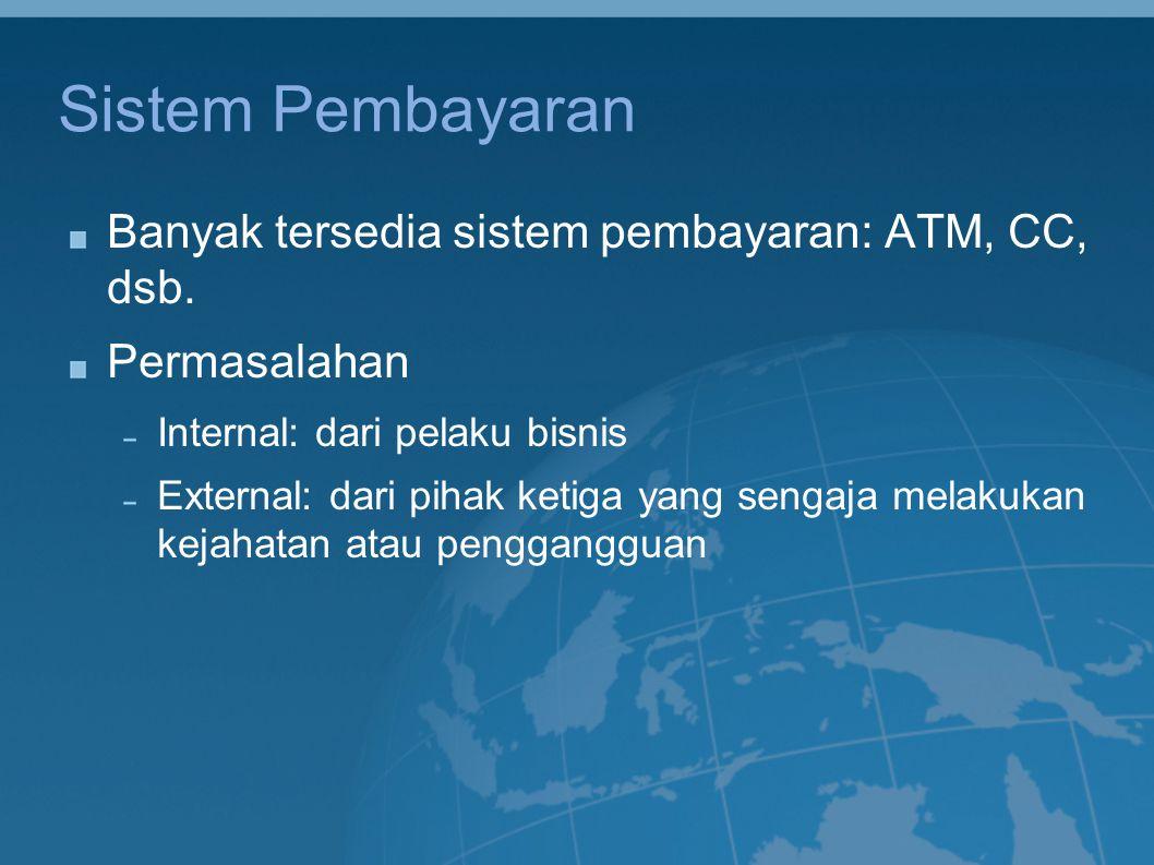 Sistem Pembayaran Banyak tersedia sistem pembayaran: ATM, CC, dsb. Permasalahan Internal: dari pelaku bisnis External: dari pihak ketiga yang sengaja